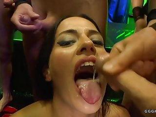 Gangbang anal double Gangbang anal pounding and facials on brunette