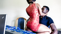 Ebony babe moving her booty on stepbrother's huge black cock