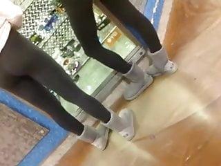 Xxx black teen girls - 2 teen girls showing their bubble butts in black yoga pants