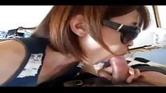 japanese wife blowjob and fuck in sunglasses