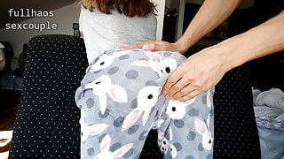 Step Brother Spanks Step Sister's Ass in the Morning