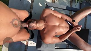 A bitch is fucked by a huge black cock in garden