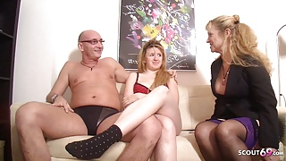 German Ugly Teen Seduce to Fuck by older Couple in Threesome