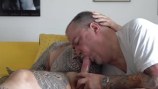 Gay lut sucks a cock and eat cum