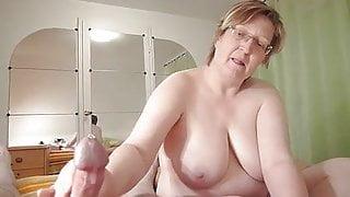 homemade, chubby granny wanks cock