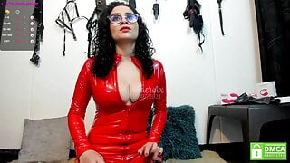 Sexy Red Latex Camshow 1