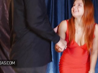 Crying redhead - Crying young redhead brutally punished during casting