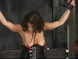 Sex slave in the basement Stunning brunette bdsm victim gets her tiny tits tortured in the sex basement