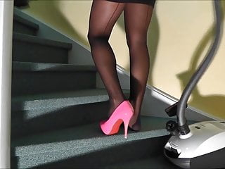 Ny private fetish house Cleaning the house in one pink heel and stockings