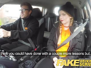 Teen driving and devices - Fake driving school pigtailed cutie gets a face full of cum