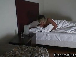 Old mature babe Mature babe pleases two robbers