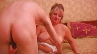 Mature plump russian lady in stockings & a young guy