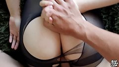 Girl Fucks Through A Hole In Pantyhose - Footjob