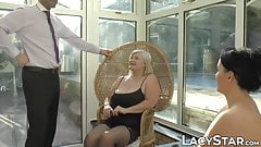 English GILF in black stockings banged missionary style