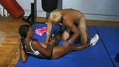 Busty Black Babe Strapon Friend on Gym