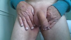 old daddy playing with his soft shaved cock