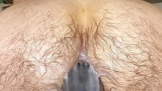Solo dildoing and stretching my hairy furry hole