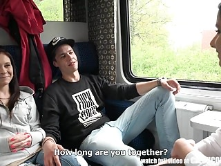 Swinger train Foursome sex in public train