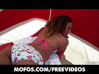 Bikini brunette anal Alea love takes it in the ass