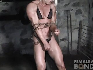 Collar chain naked muscle man - Ripped female bodybuilder in chains straining her muscles