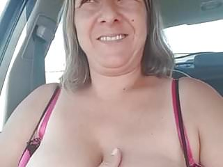 Hardcore car shows Milf shows titties in the car