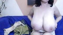 Granny with Huge Tits on a webcam