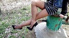 Feet in Nylon! Steel Stilettos in Suede Shoes!