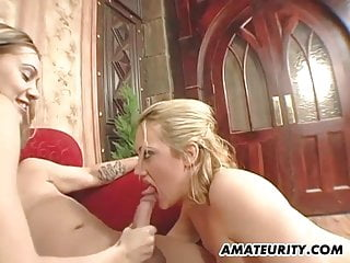 Deco vintage earrings - Amateur homemade threesome with cum on ear