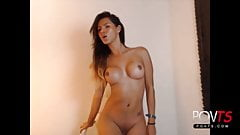 Beautiful big tits shemale teasing webcam