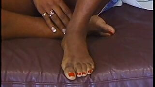 Ebony Godess Takes A Hot Load On Her Toes