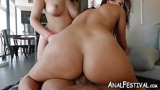 Big booty babe Keisha Grey gets anally drilled in hot threesome