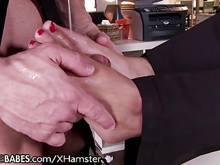 Busty police Busty police babe footjob fucking