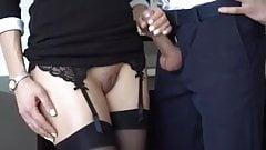 Secretary pussy handjob