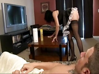 Docotor gives gay handjob Maid gives a handjob and gets blasted with huge cum blast