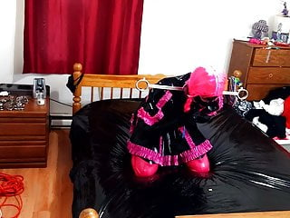 Self bondage sissy - Sissy maid escapes self bondage