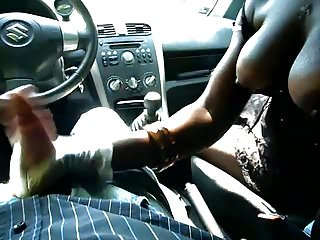 Black girl fucked in car - Black girl with big boobs gives handjob in car