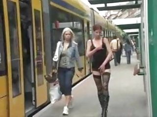 Teen station Naked at the tram station by snahbrandy