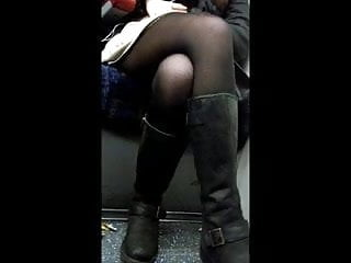 Babe with sexy legs fucked Sexy legs on train 2