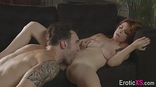 Pussy eaten redheaded milf with big boobs