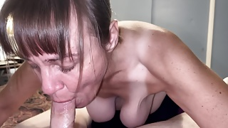 Granny Marie sucking the cum out of a cub and swallowing it
