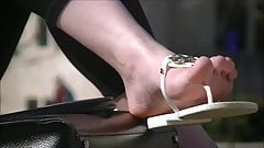 Sexy redhead foot tease on campus