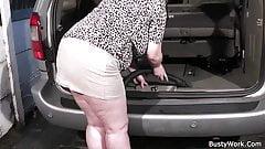 Horny boss fucks busty working woman