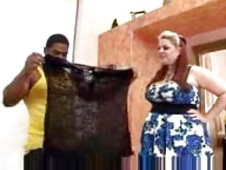 Naked demonstration - Chubby lingerie saleswoman demonstrates the goods