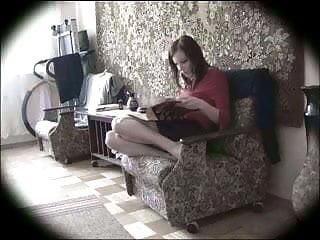 Live lesbian cam Masturbating in the living room hidden cam