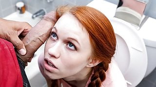 Petite Redhead Teen Gets Stuck In Toilet & Fucked By Friend's Dad