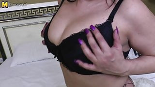 Mature Arab step mom with big black rubber cock