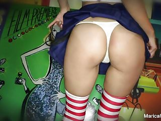 Asian tranny stripping video Marica strips off her costume and plays with herself