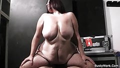 Hot bbw in fishnets rides his cock