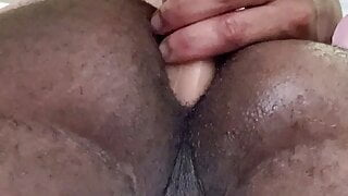 Thick Black Ass Stretched by Dildo