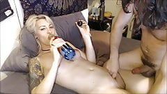 Sexy Blonde TS Getting A Skilled Handjob By Her Partner